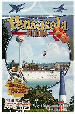 Pensacola Florida Montage Blue Angels Lighthouse Water Tower Etc Modern Postcard