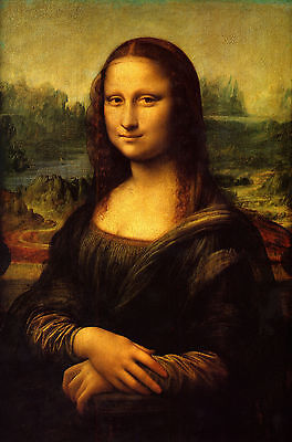 Leonardo Da Vinci:  Mona Lisa Painting - 7x10 Real Canvas Fine Art Print New