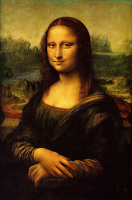 Leonardo Da Vinci:  Mona Lisa Painting - 7x10 Real Canvas Fine Art Print New