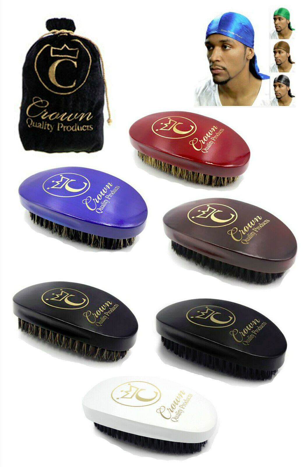 Crown Quality Products CQP 360 Gold Caesar Wave Brush Soft M