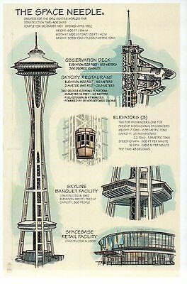 Space Needle, Seattle, Washington State, Construction Info -- Technical Postcard