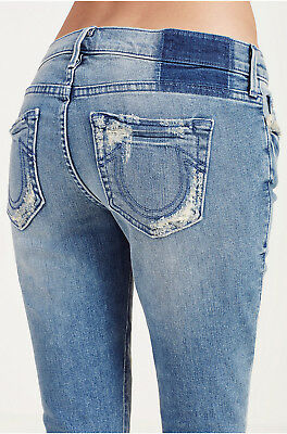 (True Religion Women's Casey Super Skinny Crop Capri Jeans in Gypset Blue)