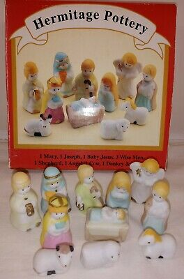 Hermitage Pottery Nativity Set Christmas 11 Pieces Miniature