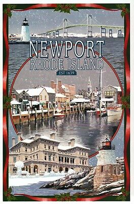Newport Rhode Island Montage, Winter, Bridge Lighthouse etc. --- Modern Postcard
