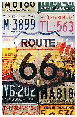 Route 66 License Plates, Oklahoma Texas Missouri, Highway Road - Modern Postcard
