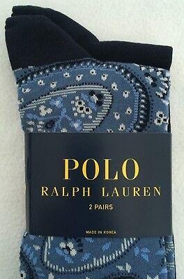 Polo Ralph Lauren Socks~2 Pack~Lt Blue Bandana Style/Solid Navy~Cotton Blend~NWT