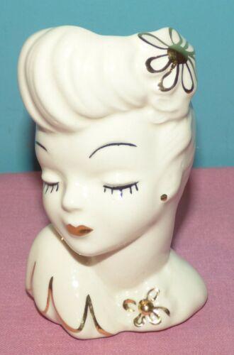 "Lady Head Vase Glamour Girls 22 Karat Gold Accents 5 1/4"" Tall"