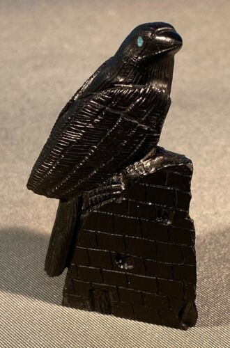Detailed Zuni Carved Black Jet Perched Raven Fetish  by Colin Weeka NEW