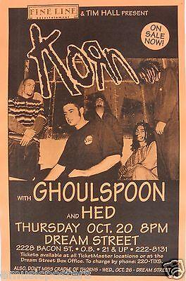 KORN / GHOULSPOON / HED 1994 SAN DIEGO CONCERT TOUR POSTER - Alt Metal Rock