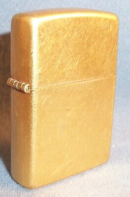 Vintage 2003 Zippo Solid Brass Lighter With gold tone insert