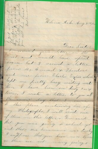 2 Union Letters, 1 Doc Union Soldier in Helena Arkansas August 1864