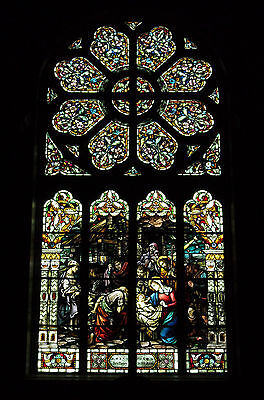 + Beautiful Large Stained Glass Window + 22' x 10' + 100 years old + chalice co.
