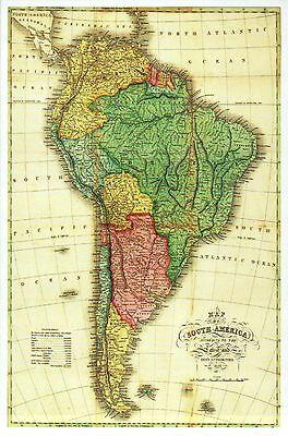 South America Panoramic Map, Brazil, Argentina, Chile, Peru etc. Modern Postcard