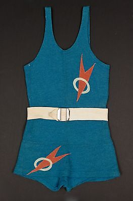 AUTH. VTG 1930's ART DECO VTG 100% WOOL KNIT SWIMSUIT BATHING SUIT & ORIG. BELT