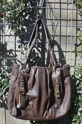 B Makowsky Leather Handbag Brown Large Bag Boho