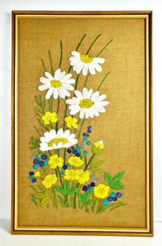 Vtg XLarge Flower Power Daisies Crewel Embroidery Retro Linen Burlap 1970 Framed