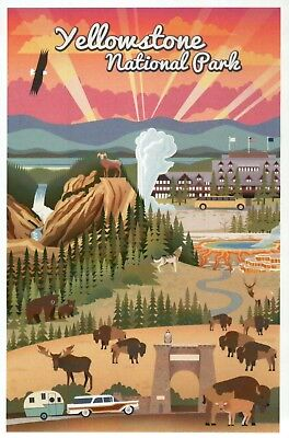 Yellowstone National Park Wyoming, Old Faithful, Hotel etc. WY - Modern Postcard