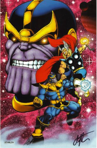 JIM STARLIN SIGNED THANOS VS. THOR COLOR PRINT-FREE SHIPPING!