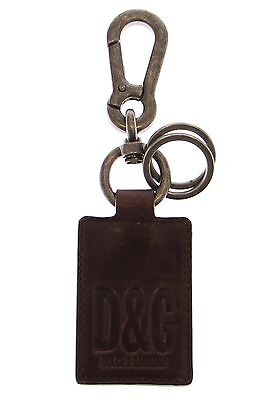 NEW DOLCE & GABBANA D&G Keychain Keyring Brown Leather Metal Unisex Ring Hook