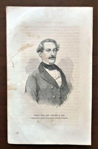 Original 1868 Civil War Print ~ GENERAL  ROBERT E. LEE  Extremely Rare Beardless