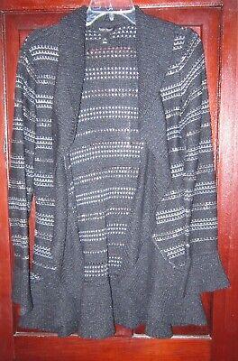 WHBM White House Black Market M Cardigan Sweater Coat Ruffle Striped Open Hooks