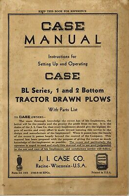 Case Vintage Bl Series 1 2 Bottom Plow Operation Parts Manual