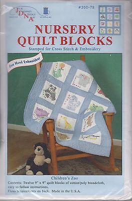"1 Jack Dempsey ""Children's Zoo"" Stamped Embroidery/Cross stitch Quilt Blocks"