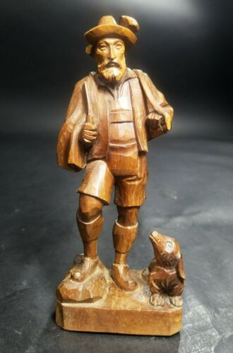Vintage German Black Forest Brienz Wood Carving Alpine Hunter Man With Dog
