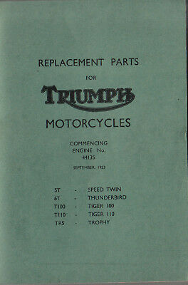 Triumph Parts List Speed Twin Thunderbird Tiger Trophy REPRINT of 1953 Edition