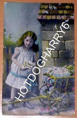 WHO'LL BUY MY PRETTY FLOWERS RAPHAEL TUCK & SONS RAPHOLETTE GLOSSO POSTCARD 1910