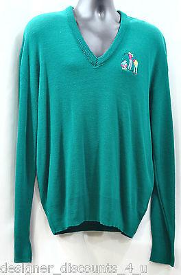 MENS VTG Vintage Mc Briar Golf V neck knit shirt top green Jacket sweater SZ XL
