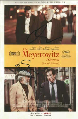 Adam Sandler/Emma Thompson/Director Signed Meyerowitz Stories 12x8 Photo AFTAL