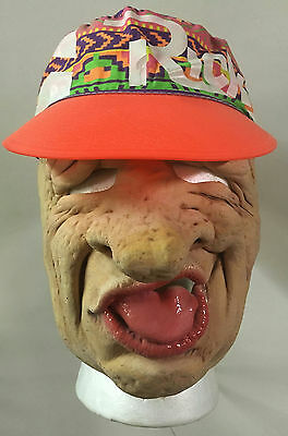 Franco Bar Exam Creepy Big Nose Tongue Out Old Man Half Mask with Attached Hat