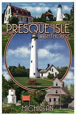 Presque Isle Lighthouse Montage, Michigan, Flag, MI Lights etc - Modern Postcard