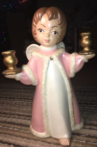 "13"" Ceramic Brunette Holiday Christmas Girl Angel Blue Eyes Candle Holder Pink"