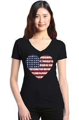 Distressed American Flag Heart Women's V-Neck T-shirt 4th of July USA Flag Tee ()
