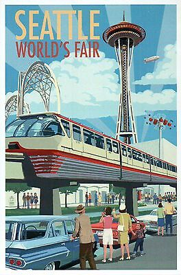 Space Needle & Monorail, Seattle World's Fair, Washington State Modern Postcard