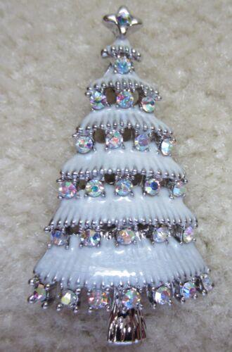 CHRISTMAS TREE AUSTRIA AURORA BORELIS CRYSTAL SILVER TONE BROOCH PIN