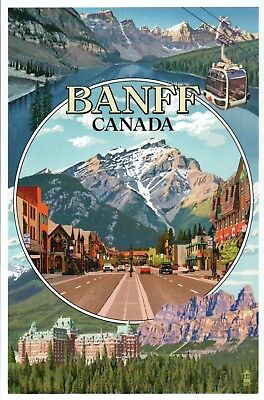 Banff National Park Alberta Canada Montage Lake Louise Hotel etc Modern Postcard ()