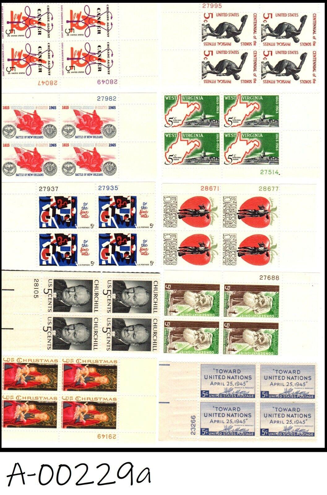 Top-Notch US MNH Plate Blocks Of 4  - $4.95