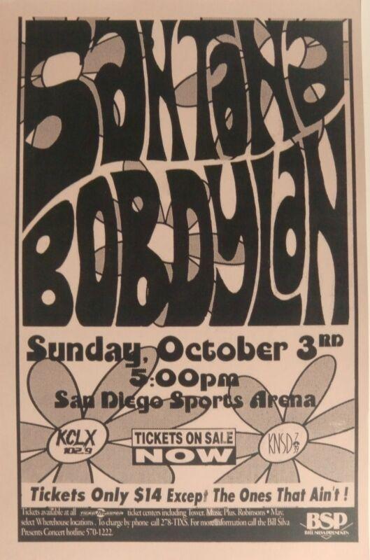 SANTANA /BOB DYLAN 1993 SAN DIEGO CONCERT TOUR POSTER-Psychedelic Font & Flowers