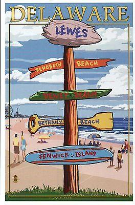 Lewes Delaware Destination Signpost, Rehoboth & Dewey Beach etc. Modern Postcard