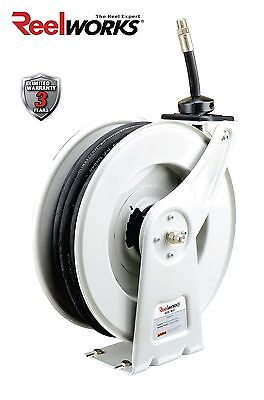 Reelworks Spring Rewind Oil Hose Reel With 12 Inch X 50 Ft. Sae 100r1 Hose