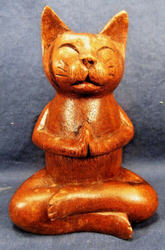 Buddha Cat in Meditating Pose Hand Carved Wood Figurine Home Decor