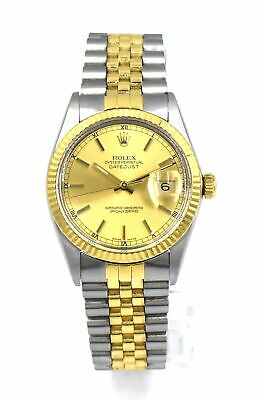 VINTAGE ROLEX DATEJUST 16013 WRISTWATCH 18K GOLD STAINLESS BOX PAPERS c1988