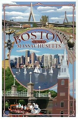Boston Massachusetts Montage, Boats in Harbor, Bridge etc. MA -- Modern Postcard