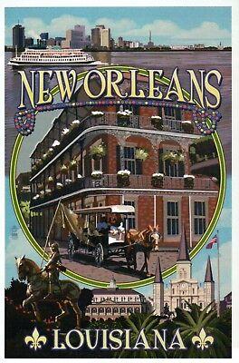 New Orleans Louisiana Montage, French Quarter, Jackson Sq etc. - Modern Postcard
