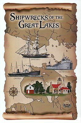 Shipwrecks Of The Great Lakes  Sandusky Etc   Michigan     Modern Ship Postcard