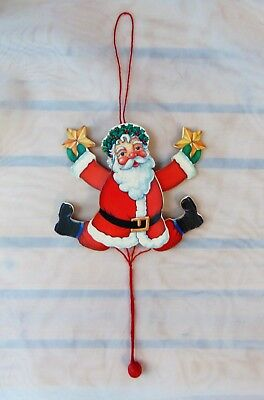 Vintage Wood Pull String Jumping Jack Santa Claus Christmas Ornament Taiwan