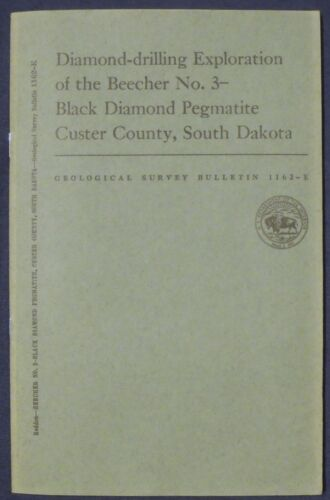 USGS SOUTH DAKOTA BEECHER BLACK DIAMOND Mine Vintage 1963 with LARGE MAP!